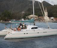 Catamaran Lagoon 570 for hire in Tamarind Yacht Club