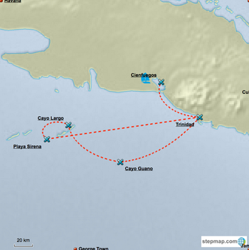 Sailing Route Suggestion Cuba - 7 Days Itinerary Cienfuegos to Cayo Largo